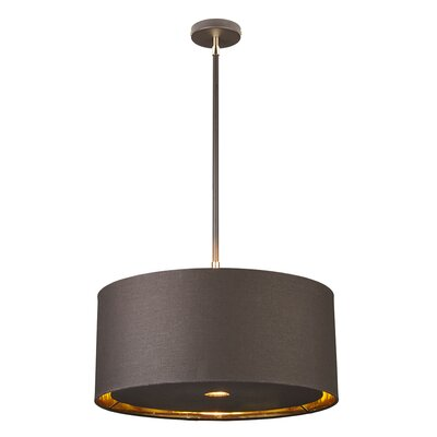 Isler 1-Light Drum Pendant Finish: Brown/Polished Brass