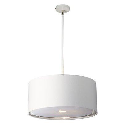 Isler 1-Light Drum Pendant Finish: White/Polished Nickel