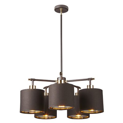 Isler 5-Light Drum Chandelier Finish: Brown/Polished Brass