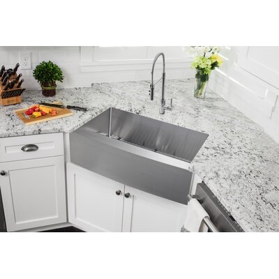 Gauge Stainless Steel 36 x 21 Apron Kitchen Sink with Faucet and Soap Dispenser