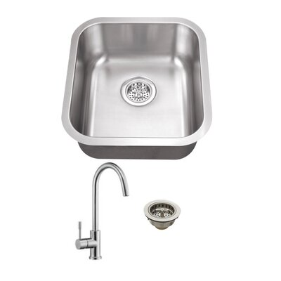 Gauge Stainless Steel 16 x 18 Undermount Bar Sink with Faucet