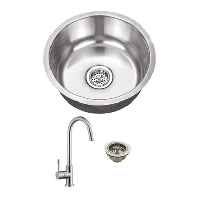 Gauge Stainless Steel 17 x 17 Undermount Bar Sink with Faucet