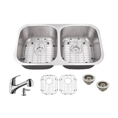 Gauge Stainless Steel 29 x 19 Double Basin Undermount Kitchen Sink with Faucet and Soap Dispenser