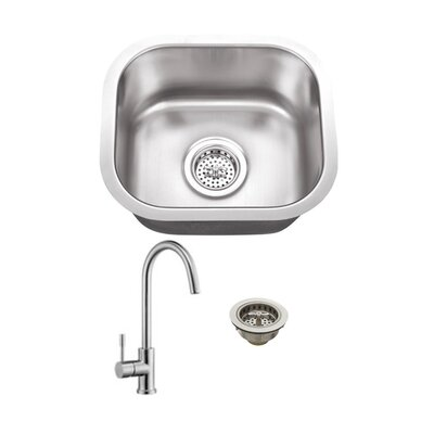 Gauge Stainless Steel 15 x 13 Undermount Bar Sink with Faucet