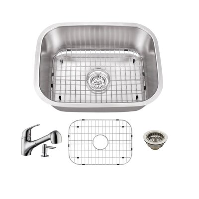 Gauge Stainless Steel 23 x 18 Undermount Bar Sink with Faucet and Soap Dispenser