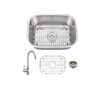 Gauge Stainless Steel 23 x 18 Undermount Bar Sink with Faucet