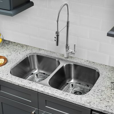 Gauge Stainless Steel 29 x 19 Double Basin Undermount Kitchen Sink with Soap Dispenser