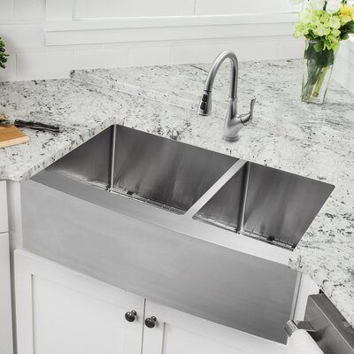 Gauge Stainless Steel 33 x 21 Double Basin Apron Kitchen Sink with Faucet and Soap Dispenser