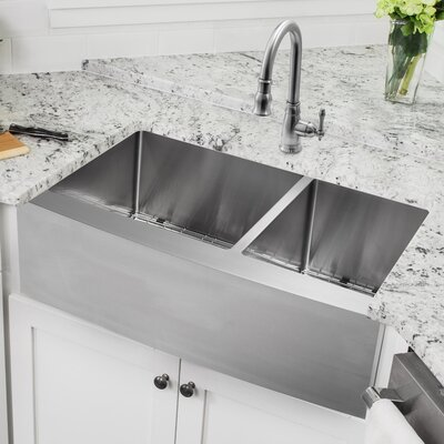 Gauge Stainless Steel 36 x 21 Double Basin Apron Kitchen Sink with Faucet and Soap Dispenser