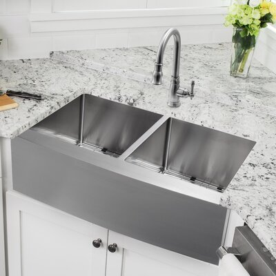 Gauge Stainless Steel 33 x 21 Double Basin Farmhouse Kitchen Sink with Faucet and Soap Dispenser