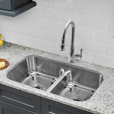 Gauge Stainless Steel 33 x 18 Double Basin Undermount Kitchen Sink with Faucet and Soap Dispenser