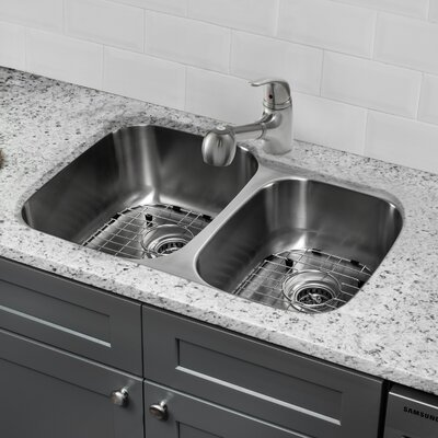 Gauge Stainless Steel 32 x 20 Double Basin Undermount Kitchen Sink with Faucet and Soap Dispenser