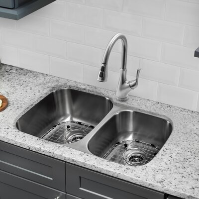 Gauge Stainless Steel 33 x 21 Double Basin Undermount Kitchen Sink with Faucet and Soap Dispenser