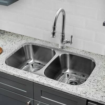 Gauge Stainless Steel 32 x 19 Double Basin Undermount Kitchen Sink with Faucet and Soap Dispenser