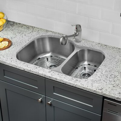 Gauge Stainless Steel 32 x 21 Double Basin Undermount Kitchen Sink with Faucet and Soap Dispenser
