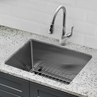 Gauge Stainless Steel Handmade 23 x 19 Undermount Bar Sink with Faucet and Soap Dispenser