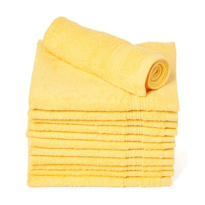 Peabody Cotton Washcloth Towel Set Color: Yellow