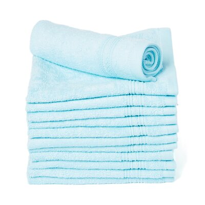 Peabody Cotton Washcloth Towel Set Color: Light Turquoise