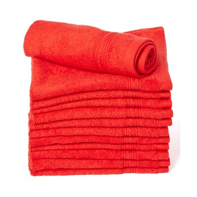 Peabody Cotton Washcloth Towel Set Color: Red