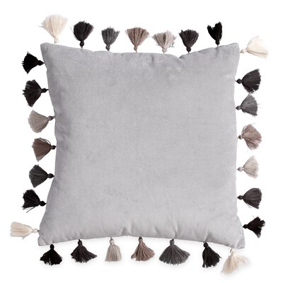 Westcliff Tassel Throw Pillow Color: Gray/Black