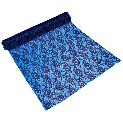 Foster Floral Lace Table Runner Color: Navy