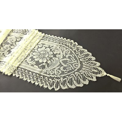 Firmin Tassel Lace Table Runner Color: Ivory