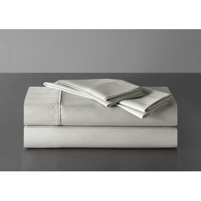 Sullivan Pinstripe 600 Thread Count 100% Cotton Sheet Set Size: Queen, Color: Dove