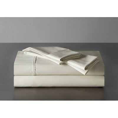 Sullivan Pinstripe 600 Thread Count 100% Cotton Sheet Set Size: Queen, Color: Ecru