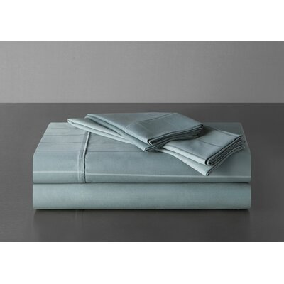Sullivan Pinstripe 600 Thread Count 100% Cotton Sheet Set Size: King, Color: Mineral