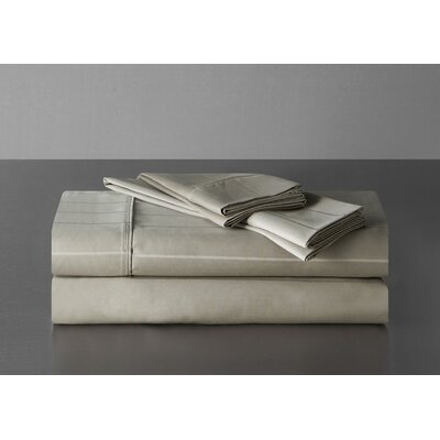 Sullivan Pinstripe 600 Thread Count 100% Cotton Sheet Set Size: Queen, Color: Taupe