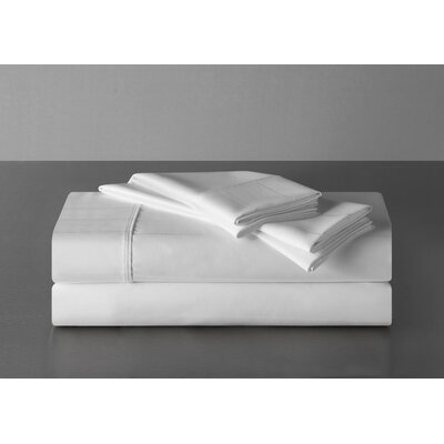 Sullivan Pinstripe 600 Thread Count 100% Cotton Sheet Set Size: King, Color: White