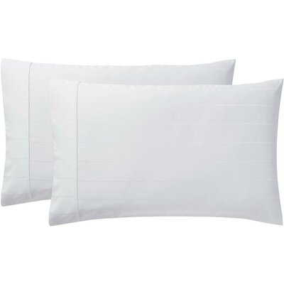 Sullivan Pinstripe Pillow Case Size: Standard, Color: White