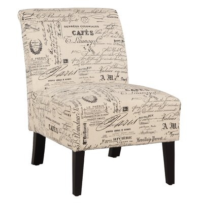 Heliotrope Linen Script Lily Slipper Chair