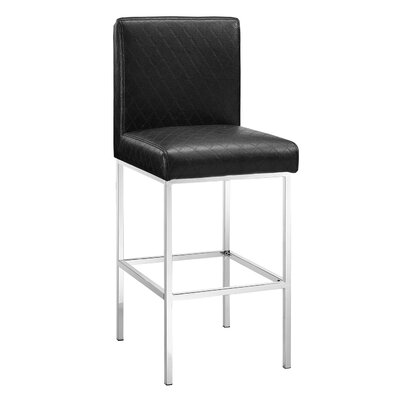Clarey 30 inch Bar Stool Upholstery: Black
