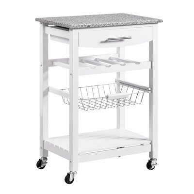 Macy Kitchen Cart with Granite Top Base Finish: White