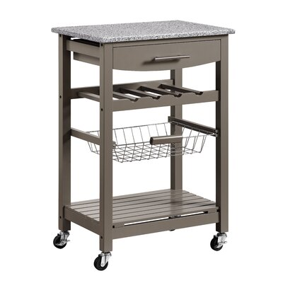 Macy Kitchen Cart with Granite Top Base Finish: Gray