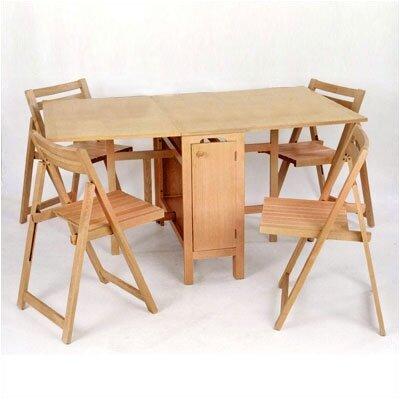 Merveilleux Low Price Linon Space Saver 5 Piece Dining Set Finish: Natural