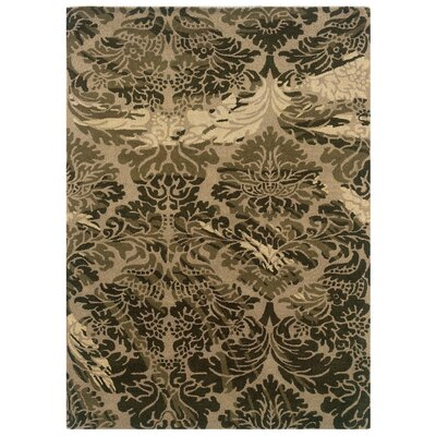 Florence Hand-Tufted Taupe/Olive Area Rug Rug Size: 110 x 210