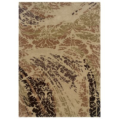 Florence Hand-Tufted Beige/Brown Area Rug Rug Size: 5 x 7