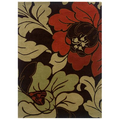 Florence Hand-Tufted Cinnamon Black Area Rug Rug Size: 5 x 7