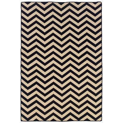 Salonika Chevron Hand-Woven Black Area Rug