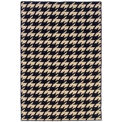 Salonika Houndstooth Hand-Woven Black/Cream Area Rug