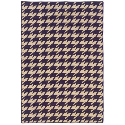 Salonika Houndstooth Hand-Woven Purple/Beige Area Rug