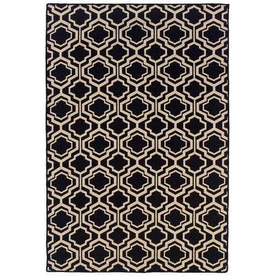 Salonika Quatrefoil Hand-Woven Black Area Rug