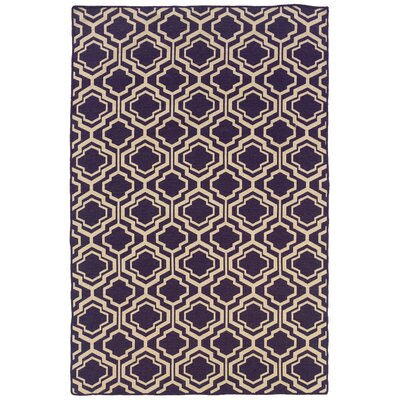 Salonika Quatrefoil Hand-Woven Purple Area Rug