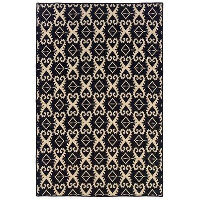 Salonika Ikat Hand-Woven Black Area Rug