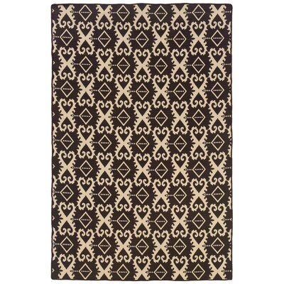 Salonika Ikat Hand-Woven Brown Area Rug
