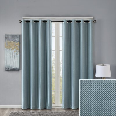 House of Hampton Sydney Basket Weave Solid Blackout Grommet Single Curtain Panel