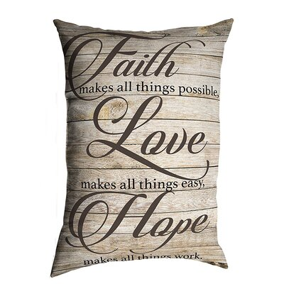 Anselmo Faith Love Hope Eco-Friendly Religious Quotes and Sayings Lumbar Pillow