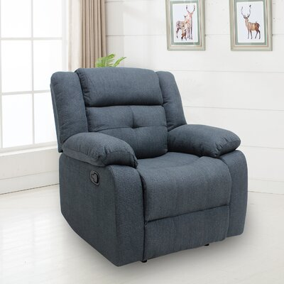 Terina Manual No Motion Recliner Upholstery: Dark Blue